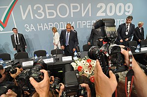 Bulgarian parliamentary election, 2009 - The leaders of GERB take their seats in front of reporters before giving a press conference after the election