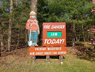 New Jersey Forest Fire Service - Fire Danger Sign at Brendan T. Byrne State Forest headquarters