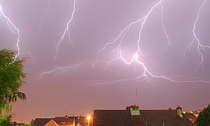 Belfort - Lightning in Belfort, France.