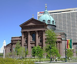 Cathedral Basilica of Saints Peter and Paul (Philadelphia) - Image: 2013 Cathedral Basilica of Saints Peter and Paul from across the Benjamin Franklin Parkway 2
