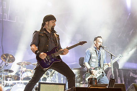 Rob Caggiano and Michael Poulsen at Nova Rock 2014 20140613-064-Nova Rock 2014-Volbeat-Michael Schon Poulsen and Rob Caggiano.JPG