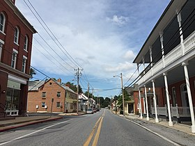 2016-09-20 14 16 38 View north along Main Street between Elizabeth Street and Dorcus Alley in Woodsboro, Frederick County, Maryland.jpg