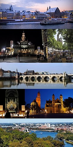 From top to bottom, left to right: Meuse river in winter · Town Hall by night · sidewalk cafés at Onze Lieve Vrouweplein · Saint Servatius Bridge · Our Lady, Star of the Sea chapel · St. John's and St. Servatius' churches at Vrijthof square · View from Mount Saint Peter
