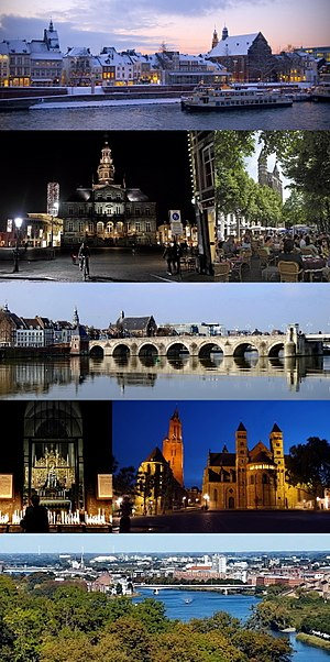 Maastricht - From top to bottom, left to right: Meuse river in winter · Town Hall by night · sidewalk cafés at Onze Lieve Vrouweplein · Saint Servatius Bridge · Our Lady, Star of the Sea chapel · St. John's and St. Servatius' churches at Vrijthof square · View from Mount Saint Peter
