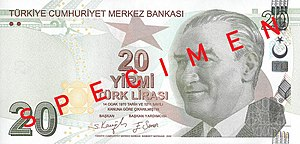 English: Front of 20 Turkish Lira Türkçe: 20 T...