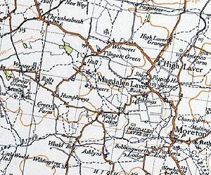 Magdalen Laver - An excerpt of a 20th-century Ordnance Survey map showing Magdalen Laver.