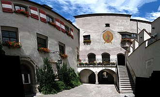 Municipality (Austria) - City hall of Hall in Tirol, Tyrol, population ca. 12,700. Hall was one of Austria's largest cities in the late Middle Ages and is still a regional economic and cultural hub today.