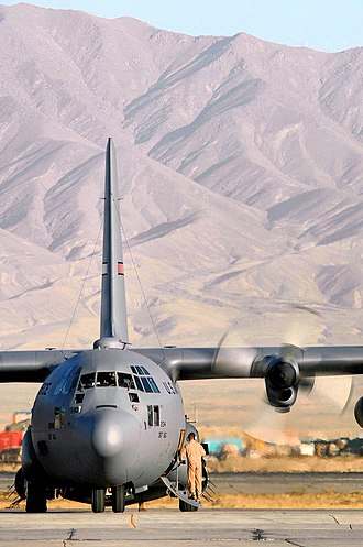 317th Airlift Group - A C-130 Hercules from the former 317th Airlift Group from Dyess Air Force Base, Texas, prepares to take off for an airlift mission in support of Operation Enduring Freedom at Bagram Air Base, Afghanistan.