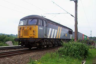 British Rail Class 56 -  Fastline 56 303 passing Kingsthorpe, just north of Northampton station, 13 June 2007