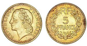 Aluminium bronze - 5 franc coins made of aluminium bronze from 1940.