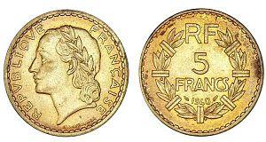 Aluminium bronze - 5 franc coins made of aluminium bronze from 1940.