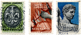 5th World Scout Jamboree - Image: 5th World Scout Jamboree Netherlands stamps 1937