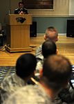 8th Security Forces Squadron Airmen listen to Chief Na Yu-In, Gunsan Korean National Police chief, following a lunch at the Loring Club here May 3 (USAF photo 110503-F-JK379-013).jpg
