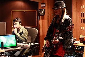 """Orianthi - Orianthi with A. R. Rahman during the recording of """"Sadda Haq"""" in 2011"""