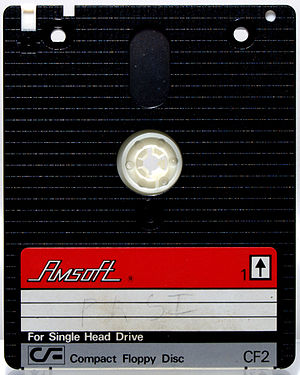 """Floppy disk variants - A 3"""" floppy disk by Amstrad. This format was used by their CPC and Spectrum lines and in some systems by other manufacturers."""