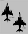AV-8A and AV-8B Harrier top-view silhouettes.png