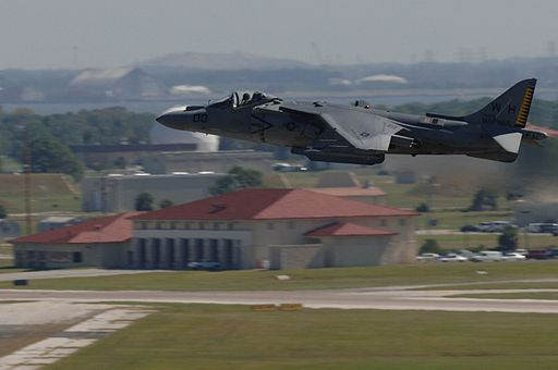 AV-8B flying over Macdill Air Force Base