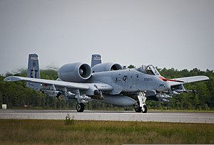 A U.S. Air Force A-10C Thunderbolt II aircraft, assigned to the 40th Flight Test Squadron, moves down the runway at Eglin Air Force Base, Fla., Aug. 14, 2013 130814-F-OC707-052.jpg