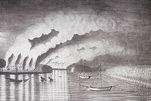 A drawing shows ships on a river with a town on fire on the left bank.
