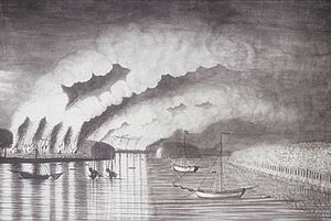 History of New Brunswick - St. John River Campaign: Raid on Grimrose (present-day Gagetown, New Brunswick). This drawing is the only contemporaneous image of the Expulsion of the Acadians