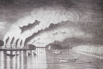 History of New Brunswick - St. John River Campaign: A View of the Plundering and Burning of the City of Grimross (present-day Gagetown, New Brunswick) by Thomas Davies in 1758. This is the only contemporaneous image of the Expulsion of the Acadians.