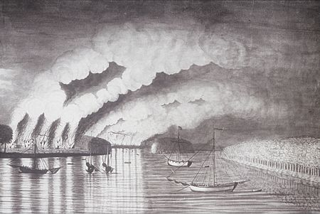 St. John River Campaign: A View of the Plundering and Burning of the City of Grimross (present day Gagetown, New Brunswick) by Thomas Davies in 1758. This is the only contemporaneous image of the Expulsion of the Acadians. A View of the Plundering and Burning of the City of Grymross, by Thomas Davies, 1758.JPG
