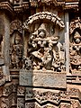 A dancer with musicians with musical instruments below, 13th century Keshava temple Somanathpur.jpg