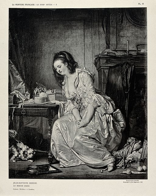 A despondent woman sitting at her dressing table in a room w Wellcome V0019917