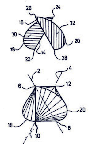 Sphericon - Drawings of a two half-discs device for generating a meander motion, and of a sphericon, taken from the original patent application filed by David Hirsch.