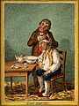 A grimacing invalid seated before a bowl having received an Wellcome V0011187.jpg