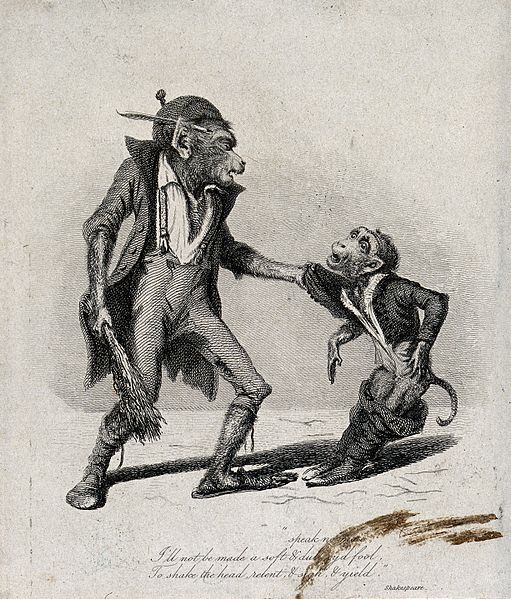 File:A large monkey dressed in rags is about to beat a smaller mo Wellcome V0023060.jpg