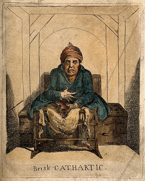 File:A sick man stranded on the toilet after taking a laxative. C Wellcome V0011194.jpg