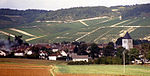 A village with vineyards in Champagne, France 1987.jpg