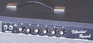 Vibrato unit - The vibrato/reverb channel of a Fender Vibrolux amplifier.   The potentiometers, from left to right, read Volume, Treble, Bass, Reverb, Speed and Intensity.