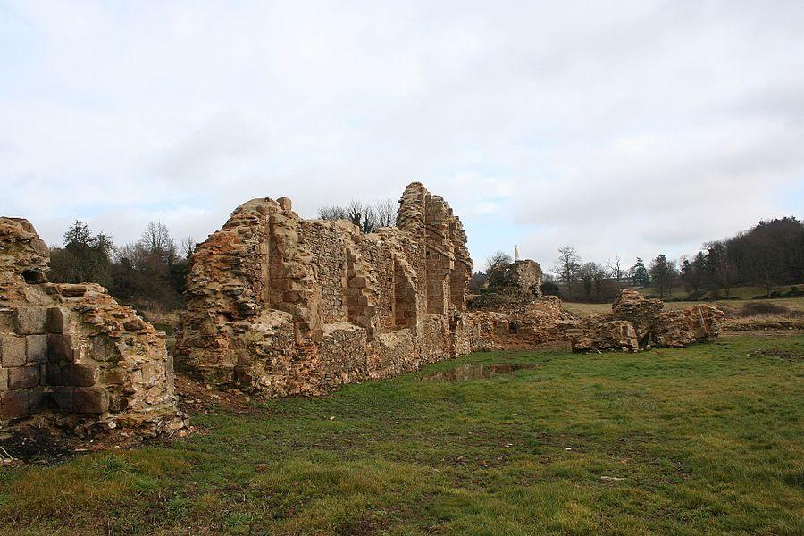 Les contreforts de l'église vue depuis l'hôtellerie. Vue des ruines de l'abbaye de savigny le vieux, manche, france