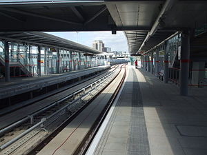 Abbey Road DLR station - Platforms looking north, soon after opening.