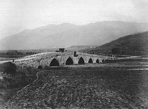 Abdal Bridge (Bursa) - The Abdal Bridge photographed in the nineteenth century. All twelve of the bridge's arches have subsequently been exposed following restoration in the twentieth century