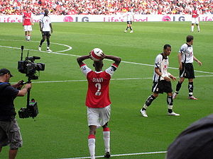 Arsenal defender Abou Diaby takes a throw-in
