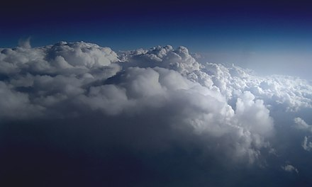 Clouds, formed by condensed water vapor Above the Clouds.jpg