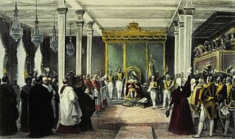 Independence of Brazil - Acclamation ceremony of King John VI of the new United Kingdom of Portugal, Brazil and the Algarves in Rio de Janeiro, temporary capital, Brazil, 6 February 1818.