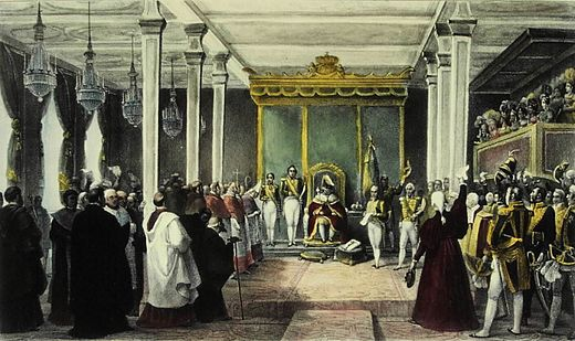 The Acclamation of King Joao VI of the United Kingdom of Portugal, Brazil and the Algarves in Rio de Janeiro, 6 February 1818 Aclamacao do rei Dom Joao VI no Rio de Janeiro.jpg