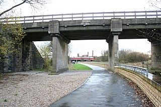 Adam Viaduct Grade II listed railway underbridge in Wigan, England