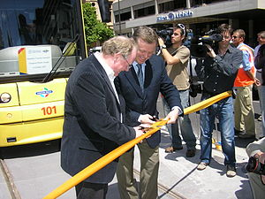 Patrick Conlon (politician) - Pat Conlon (left) and Mike Rann opening the extension of the Glenelg Tramline in October 2007.