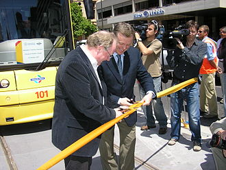 Mike Rann - Rann (right) with Minister for Transport Pat Conlon (left) opening the extension of the Glenelg Tram line in 2007.