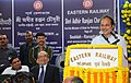 Adhir Ranjan Chowdhury addressing after flagging off the Express and Local trains, at Sealdah Railway Station, in Kolkata on February 05, 2013. The General Manager, Eastern Railway, Shri G.C. Agarwal is also seen.jpg