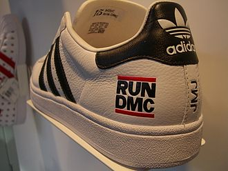 Golden age hip hop - This Run DMC-branded Adidas running shoe illustrates the increasing market power of rappers, who became a valuable brand.