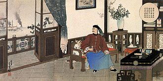 Ding Ruchang - The suicide of Admiral Ding Ruchang, on a print by Mizuno Toshikata