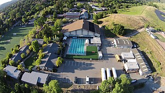 The Athenian School - Aerial view of Athenian School pool area
