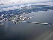 Aerial view of South Tampa, MacDill AFB and Gandy bridge