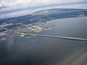 MacDill Air Force Base - Aerial view including MacDill AFB and the Gandy Bridge.